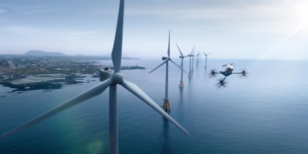 Inspectie turbine eoliene cu drona Doosan